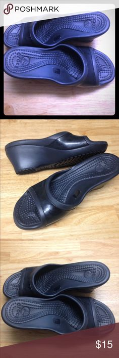 Crocs size 11 wedge Black Crocs.  Really cute wedge shoes. CROCS Shoes Wedges