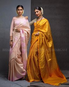 Shop from our limited edition classic Kanjeevarams and make some heads turn! Beautiful and in our latest collection Photo by Hair and Makeup by . Trendy Sarees, Stylish Sarees, Indian Attire, Indian Ethnic Wear, Indian Dresses, Indian Outfits, Sari Design, Look Short, Silk Saree Blouse Designs