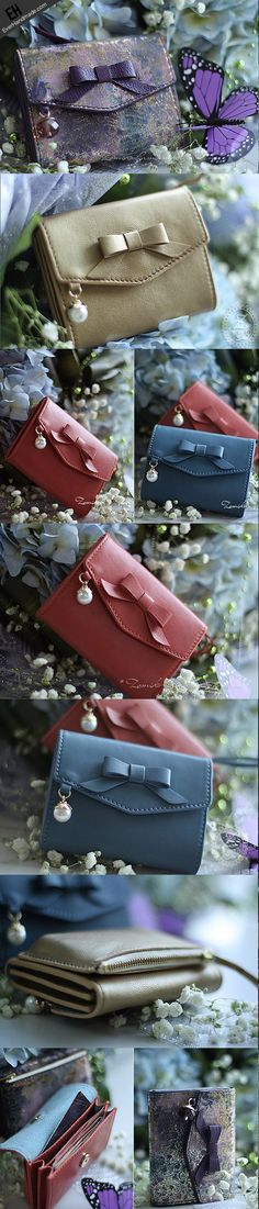 Handmade cute pretty leather short wallet for women #wallet #women #handmade Link:http://www.everhandmade.com/collections/short-wallets/products/handmade-vintage-cute-bowknot-leather-short-bifold-wallet-for-women-lady