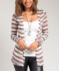 Brown & White Stripe Open Cardigan