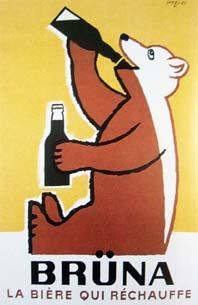 Bruna Beer. Design by Raymond Savignac, 1951-52.