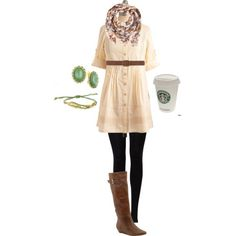 perfect outfit, right down to the starbucks coffee! (don't fear the leggings girls, they are way more forgiving then you think) also, love the color pop of the earring, but would go bigger. When you have a wrap scarf, small earrings tend to get lost...