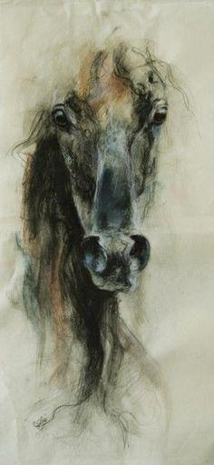 Horse Black Chalk Drawing, Peinture à la craie noire d'un cheval