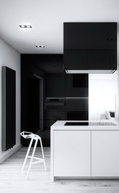 Minimalist Kitchen // black and white kitchen // Cutout Architects