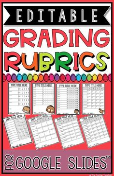 These EDITABLE grading rubrics come as a a file in Google Slides™️ that you can store in your Google Drive™️. They are set to print on 8.5x11 paper. Print and fill out or keep them digital and paperless.All text and charts are completely editable. Add your own title and grading criteria.These can be used for any subject and grade level. Use over and over again!There are 8 different grading rubrics but 16 templates in all. Each rubric has a plain template and a template with a piece of clipar