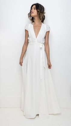 The Perfect Wedding Dress For The Bride - Aspire Wedding - Plunging neckline wrap dress with cap sleeve - Machine wash cold, air dry - Model is wearing size XS Wedding Gown A Line, Simple Wedding Gowns, Country Wedding Dresses, Princess Wedding Dresses, Casual Wedding, Perfect Wedding Dress, Best Wedding Dresses, Wrap Wedding Dress, Casual Bride