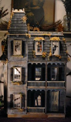 1 Inch Scale Miniature Haunted Delapidated Pre-built Victorian Dollhouse