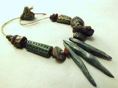 36 Artisan Stoneware Beads Sea Urchin handmade by greybirdstudio, £36.00