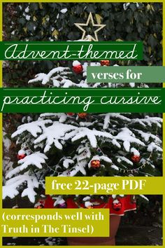 Advent-themed verses for practicing cursive.