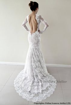 Lace wedding dress, Low open back wedding dress, Illusion wedding dress, Custom wedding dress, Open back lace gown #laceweddingdress #weddingdresses #laceweddinggown #bridaldress #robedemariee #sexyweddingdress #customweddingdress