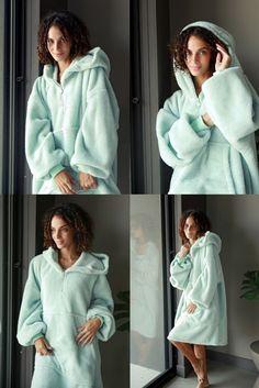 Long Wearable Blanket with Pockets Fluffy Sherpa TV Blanket IvyH Hoodie Blanket