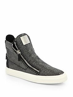 Giuseppe Zanotti - Snakeskin-Embossed Leather High-Top Sneakers