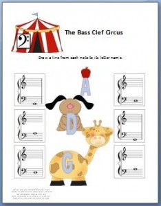 So cute! This bass clef worksheet is for little kids. It comes with a fun activity and instructions for helping them learn. It's free for printing!