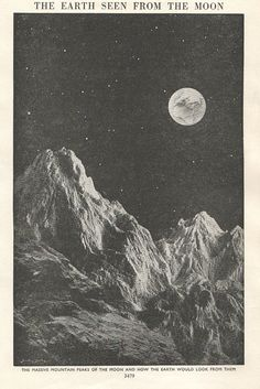 vintage astronomy print view from moon Earth Moon outer space illustration. $10.95, via Etsy.