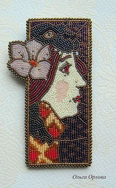Brooch handmade.  Order The girl with a flower.  Olga Orlova.  Arts and crafts fair.  Beads
