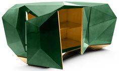 The #Diamond #sideboard, colored in green #emerald. #jewel #style #furniture #geometric #luxurious