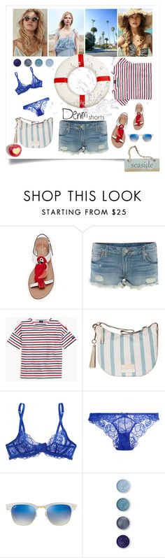 """""""jeans shorts"""" by marina-karagianni ❤ liked on Polyvore featuring Kate Spade, True Religion, Saint James, Borbonese, L'Agent By Agent Provocateur, Ray-Ban, Terre Mère, jeanshorts, denimshorts and cutoffs"""