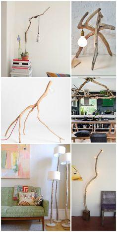 lamper lavet af grene og drivtømmer