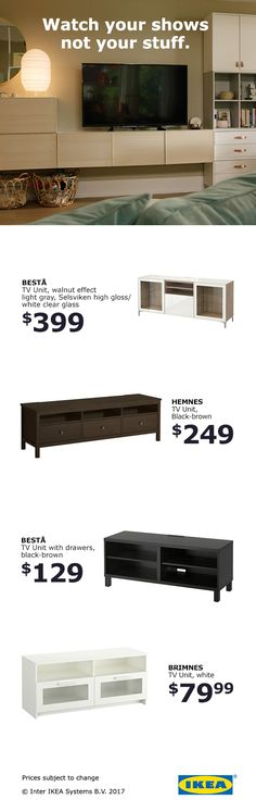 At IKEA, you can find a TV stand that fits your style, your stuff and your budget. Small Apartments, Small Spaces, Small Condo Decorating, Colorful Interior Design, Home Management, Living Room Storage, Apartment Living, Studio Apartment, Living Rooms