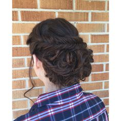 Curly updo with a fishtail braid, perfect for a prom or a wedding, would look great with a veil | Hair by Kayla Johnson