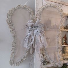 Lace angel wings wall hanging wispy handmade wire and tulle