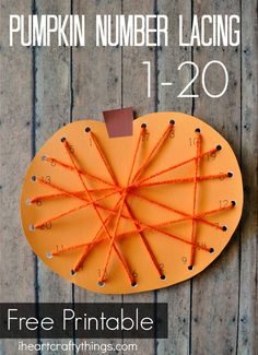 Pumpkin Number Lacing Activity for preschoolers. Practice counting and recognizing numbers 1-20 and get fine motor work.