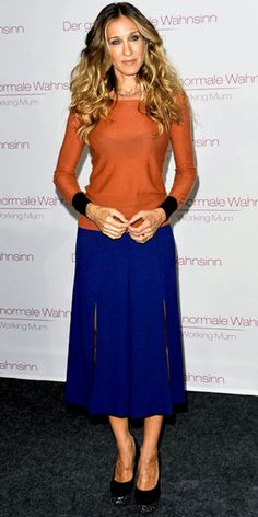SJP colourblocking. loving the camel/black with the bright, it's defo the way forward for colourblocking into autumn/fall!