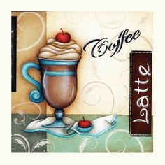 coffee latte placa madera I Love Coffee, Coffee Art, Gif Animated Images, Wooden Cutouts, Country Paintings, Tea Art, Decoupage Paper, Country Art, Tole Painting