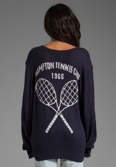 8.20.13 WILDFOX COUTURE Hampton Tennis Club School Girl V,Neck Sweater in  Uniform