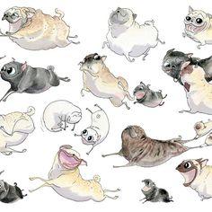 Pugs on the Run! Art Print