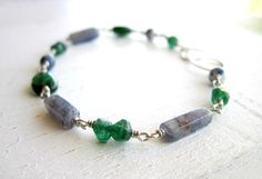 Blue Aventurine, Dark Green Aventurine, and Sodalite Bracelet of Stability, Comfort, and Truth by Anais Aine Jewelry, $60.00 USD
