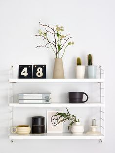 Celebrating the New Year and fresh beginnings with Flowerbe - fresh greenery for January Ikea Shelves Bedroom, Living Room Shelves, Home Decor Trends, Diy Home Decor, Minimalist Home Interior, Geometric Decor, Kitchen Wall Art, Inspired Homes, Interior Styling