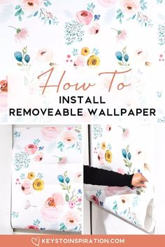 home accents on a budget How to Install Removable Wallpaper One Room Challenge Week 3 Keys To Inspiration Learn how to install removable wallpaper. Its the perfect way to add an accent to a room or for a temporary design chan. Home Upgrades, Diy Bedroom Decor, Diy Home Decor, Wall Decor, Bedroom Office, Diy Interior, How To Install Wallpaper, Diy Porch, Budget