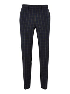 Navy and Brown Check Muscle Fit Suit Pants Suit Pants, Dress Pants, Mens Plaid Pants, Brown Pants Outfit, Navy And Brown, Fitted Suit, Muscle Fitness, How To Slim Down, Aerobics