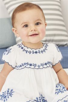 Embroidered Blouse And Bloomer Set (0mths-2yrs)