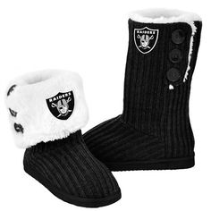 Dallas Cowboys Women& Black Knit High End Button Boot Slipper Dallas Cowboys Women, Burgundy Jeans, Black Cowboys, Stylish Boots, Boating Outfit, Nfl Fans, Sweaters And Leggings, Slipper Boots, Oakland Raiders