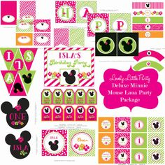 Printable Deluxe Minnie Mouse Luau  Birthday Package - LOVELY LITTLE PARTY on Etsy, $25.00