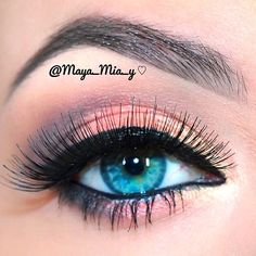 Peach and gold complete this prom eye.