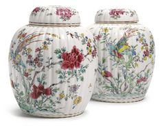 A PAIR OF CHINESE EXPORT PORCELAIN FAMILLE-ROSE RIBBED 'PHEASANT' JARS AND COVERS 18TH CENTURY