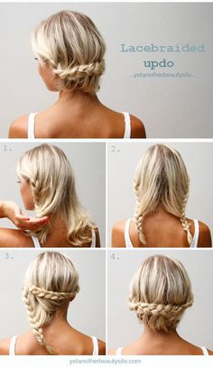 Two simple braids make a pretty and easy updo | 9 Easy No-Heat Summer Hairstyles For Girls With Medium-Length Hair Mens Braids Hairstyles
