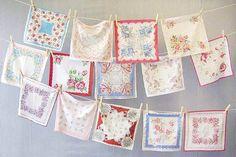 vintage wedding napkins hankies floral