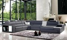 Ultramodern Polaris Sectional Sofa Gray Bonded Leather with Accent Lights | eBay