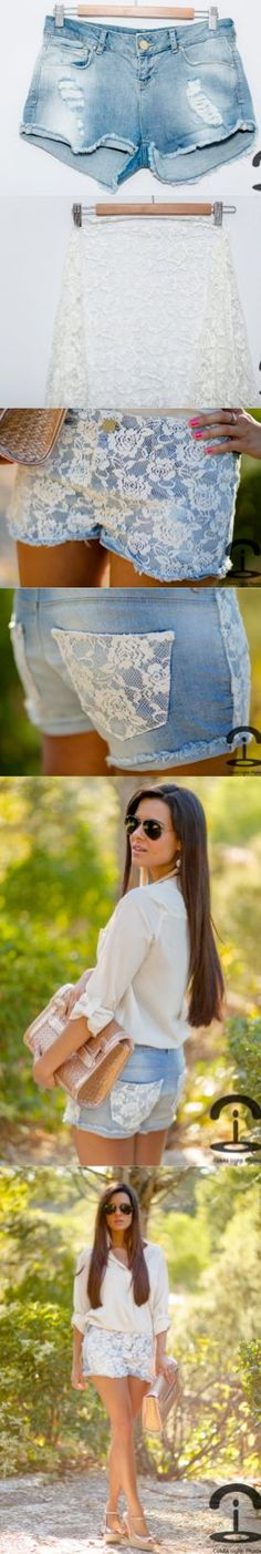 DIY Lace shorts, def would like the shorts a bit longer! and I'd keep the pockets in the front denim. Diy Shorts Pockets, Diy Lace Shorts, Diy Clothes Bag, Clothes Crafts, Sewing Clothes, Diy Fashion, Womens Fashion, Fashion Design, Do It Yourself Fashion