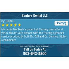 My family has been a patient at Century Dental for 4 years. We are very pleased with the...