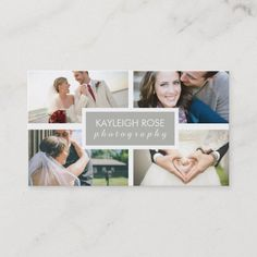 Photography Collage Business Card Photographer Business Cards, Photography Business, Wedding Color Schemes, Wedding Colors, Photography Collage, Unique Logo, Professional Business Cards, Polaroid Film, Color Scheme Wedding