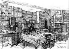 Drawing of library, August 1869
