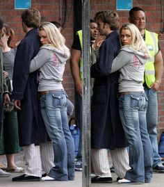 I just love that this picture is from his first day on set, and they are already so close that she's hugging him (and not showing any sign of letting him go) while he's trying to talk to other people...you can just tell that they love each other, in the show and in real life. They are adorable <3