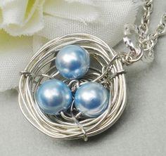 Silver Birds Nest  Necklace Swarovski Pearls  by Kikiburrabeads, $20.00