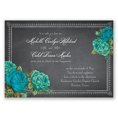 Romantic Chalkboard Roses - Malibu - Invitation