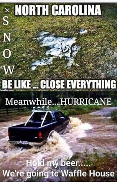 North Carolina Hurricanes, Hurricane Memes, Weather Memes, Waffle House, Southern Sayings, Everything, Hold On, Beer, Humor